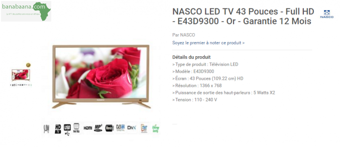 t l vision vid o nasco led tv 43 pouces abidjan banabaana. Black Bedroom Furniture Sets. Home Design Ideas