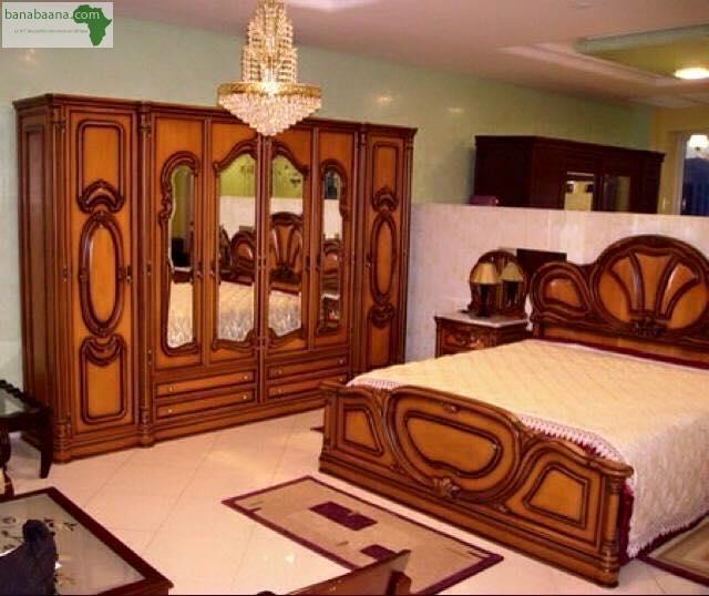 Mobilier lit en bois avec armoire dakar banabaana for Chambre a coucher senegal