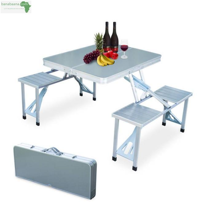 Mobilier table pliable en aluminium avec 4 chaises dakar for Table pliable avec chaise
